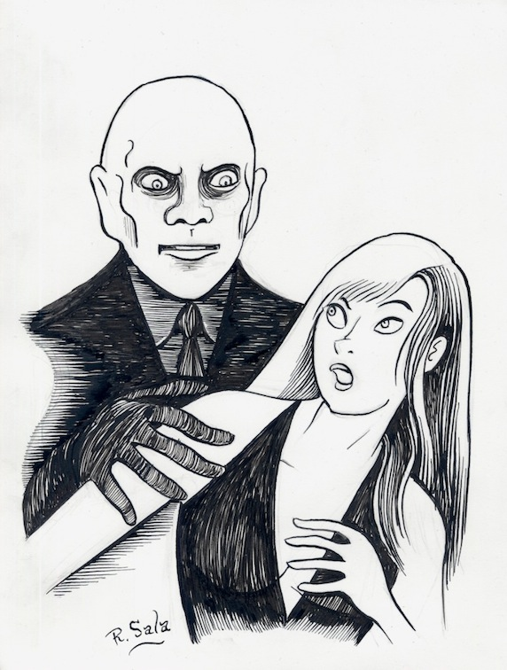 """Fantomas 1964 - Pen and ink"" is copyright ©2008 by Richard Sala.  All rights reserved.  Reproduction prohibited."