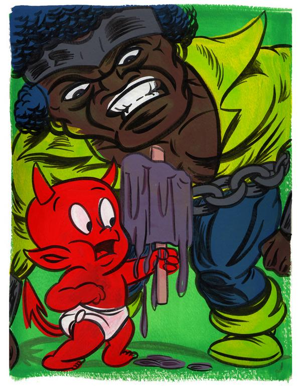 """LUKE CAGE VS. HOT STUFF"" is copyright ©2008 by Jeremy Eaton.  All rights reserved.  Reproduction prohibited."
