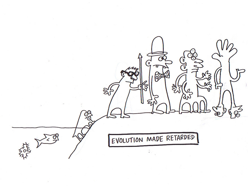"""Evolution Made Retarded"" is copyright ©2008 by Sam Henderson.  All rights reserved.  Reproduction prohibited."