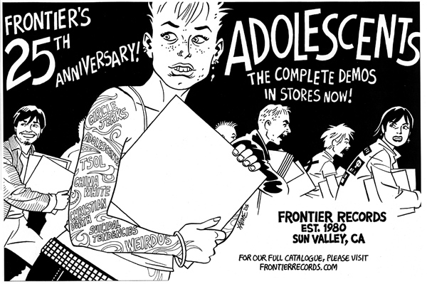 """Frontier Records ad"" is copyright ©2008 by Jaime Hernandez.  All rights reserved.  Reproduction prohibited."