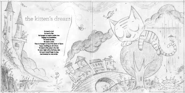 """Kitten's Dream Pencil Sketch for M.W.Brown Poem"" is copyright ©2008 by Bob Staake.  All rights reserved.  Reproduction prohibited."