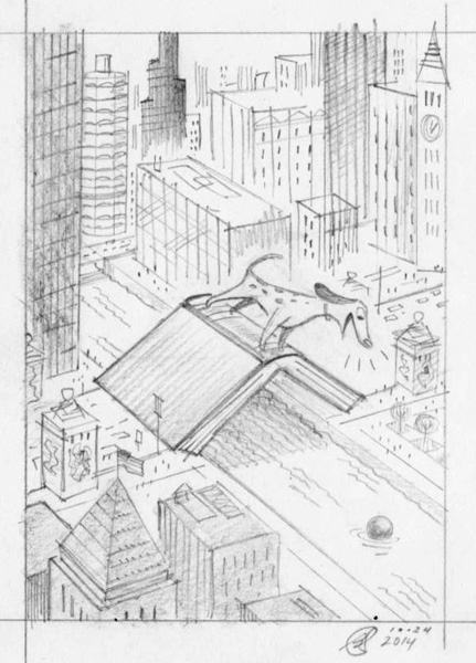 """Chicago Aerial City Scene With Mutt"" is copyright ©2008 by Bob Staake.  All rights reserved.  Reproduction prohibited."