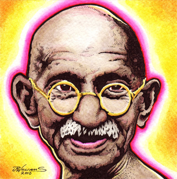 """Gandhi"" is copyright ©2008 by J.R. Williams.  All rights reserved.  Reproduction prohibited."