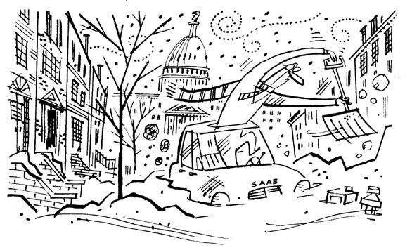 """Washington Post - Snow Removal On Capitol Hill"" is copyright ©2008 by Bob Staake.  All rights reserved.  Reproduction prohibited."