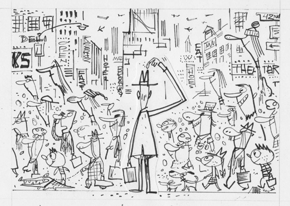 """Washington Post - Perplexed Man In Times Square"" is copyright ©2008 by Bob Staake.  All rights reserved.  Reproduction prohibited."