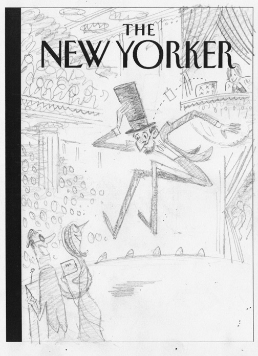 """New Yorker - Lincoln In The Balcony"" is copyright ©2008 by Bob Staake.  All rights reserved.  Reproduction prohibited."
