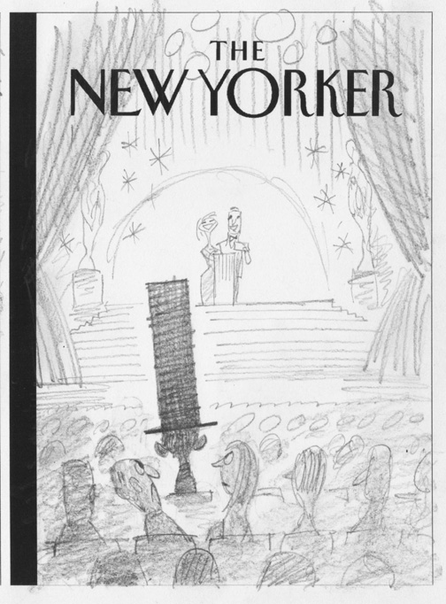 """New Yorker - Lincoln Pissing Off Oscar Crowd"" is copyright ©2008 by Bob Staake.  All rights reserved.  Reproduction prohibited."
