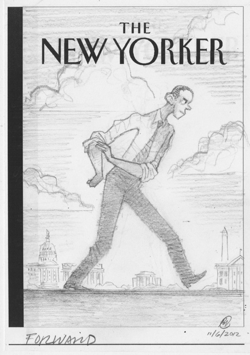 """New Yorker - Obama Goes Forward"" is copyright ©2008 by Bob Staake.  All rights reserved.  Reproduction prohibited."