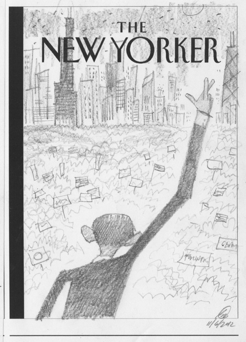 """New Yorker - Obama Re-Elected"" is copyright ©2008 by Bob Staake.  All rights reserved.  Reproduction prohibited."
