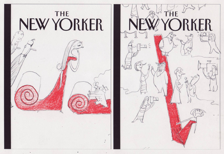 """New Yorker - Oscar Red Carpet (2 for 1!)"" is copyright ©2008 by Bob Staake.  All rights reserved.  Reproduction prohibited."