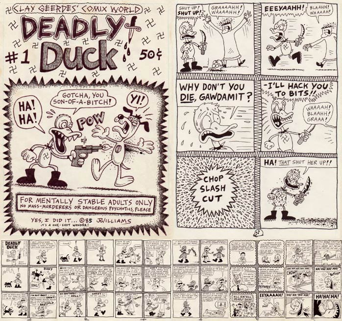 """DEADLY DUCK 8-pg. mini-comic, '85"" is copyright ©2008 by J.R. Williams.  All rights reserved.  Reproduction prohibited."