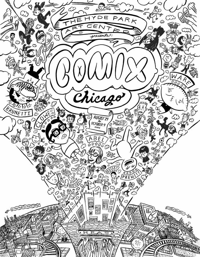 Line Art Posters : Comic art collective david heatley comix chicago