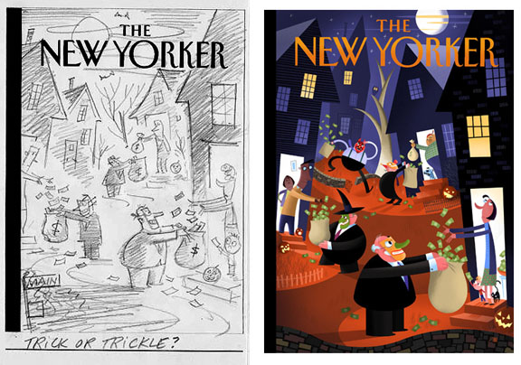 """New Yorker Cover Sketch - (Trickle Or Treat?)"" is copyright ©2008 by Bob Staake.  All rights reserved.  Reproduction prohibited."