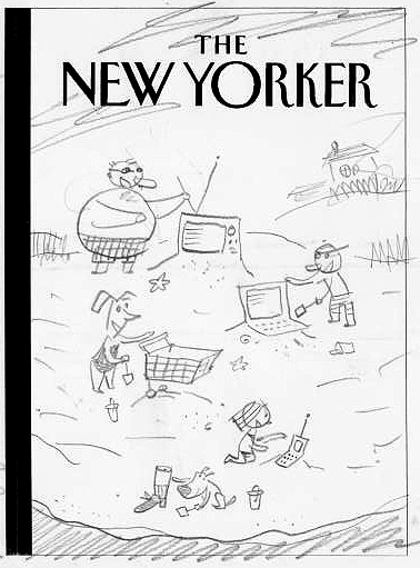 """New Yorker Cover Sketch (Sand Castles)"" is copyright ©2008 by Bob Staake.  All rights reserved.  Reproduction prohibited."