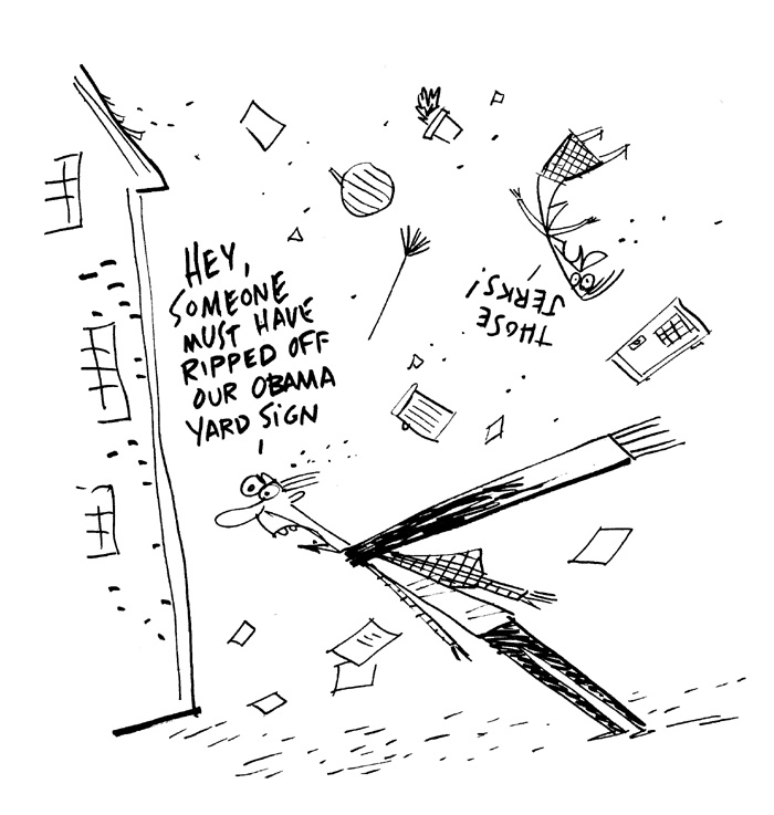 """Cape Cod Chronicle Cartoon - Obama Jerks"" is copyright ©2008 by Bob Staake.  All rights reserved.  Reproduction prohibited."