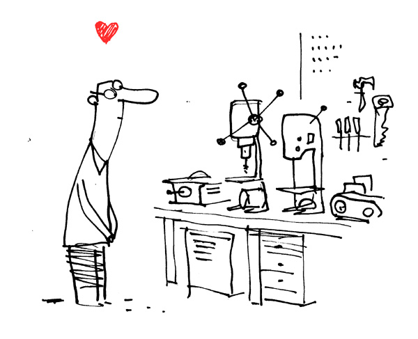 """Man Staring Lovingly At His Power Tools"" is copyright ©2008 by Bob Staake.  All rights reserved.  Reproduction prohibited."