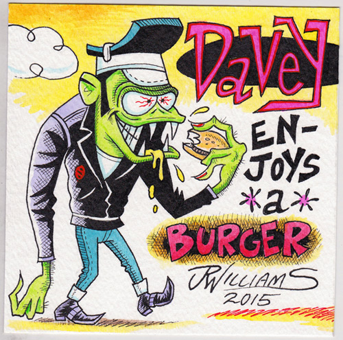 """Davey Enjoys A Burger"" is copyright ©2008 by J.R. Williams.  All rights reserved.  Reproduction prohibited."