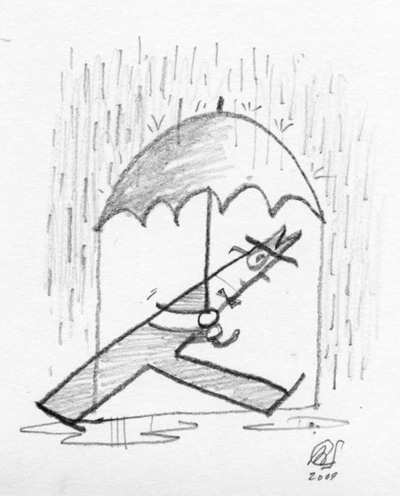 """Personal Sketch - Man With Umbrella"" is copyright ©2008 by Bob Staake.  All rights reserved.  Reproduction prohibited."