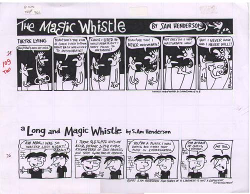 """Magic Whistle: They're Lying b/w A Long and Magic"" is copyright ©2008 by Sam Henderson.  All rights reserved.  Reproduction prohibited."