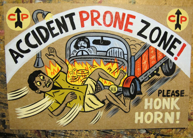 """Accident Zone...Honk Horn!"" is copyright ©2008 by  Mats!?.  All rights reserved.  Reproduction prohibited."