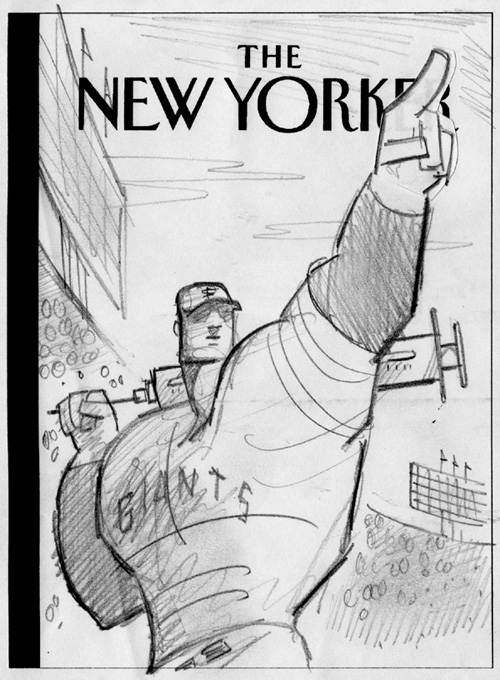 """New Yorker Cover Pencil Sketch 2 (rejected)"" is copyright ©2008 by Bob Staake.  All rights reserved.  Reproduction prohibited."