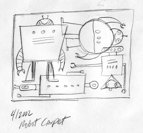 """Sketch For Robot Carpet/Rug Project"" is copyright ©2008 by Bob Staake.  All rights reserved.  Reproduction prohibited."
