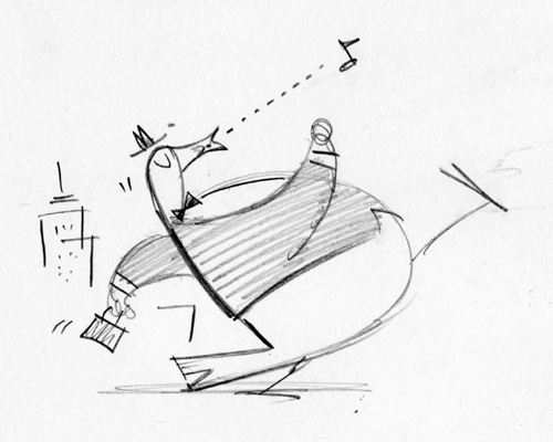 """Washington Post Sketch - Marching Business Duck"" is copyright ©2008 by Bob Staake.  All rights reserved.  Reproduction prohibited."