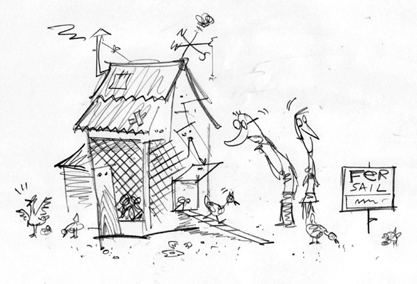 """Christian Science Monitor Sketch - Cheap Housing"" is copyright ©2008 by Bob Staake.  All rights reserved.  Reproduction prohibited."