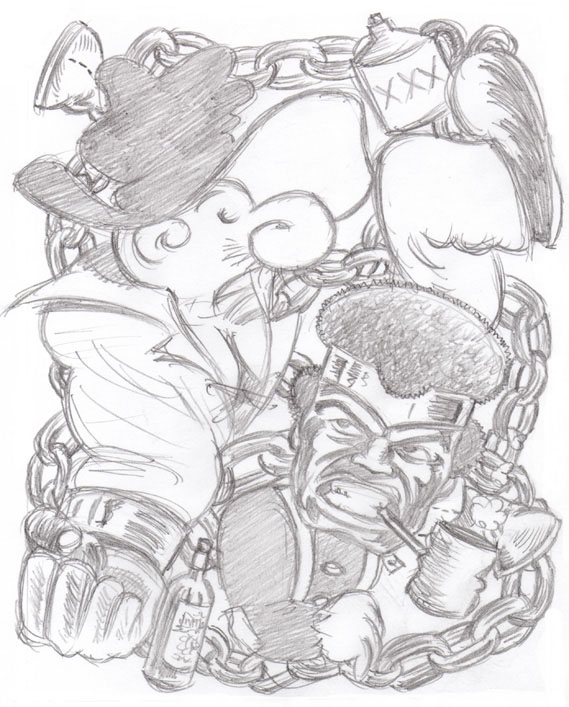 """CARTOON JUMBLE PENCIL - SNUFFY SMITH & LUKE CAGE"" is copyright ©2008 by Jeremy Eaton.  All rights reserved.  Reproduction prohibited."