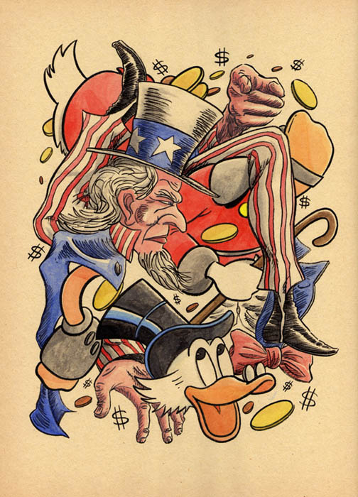 """CARTOON JUMBLE- UNCLE SAM & UNCLE SCROOGE"" is copyright ©2008 by Jeremy Eaton.  All rights reserved.  Reproduction prohibited."