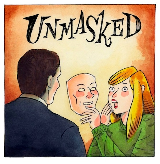 """UNMASKED - Cover/Title Page"" is copyright ©2008 by Richard Sala.  All rights reserved.  Reproduction prohibited."