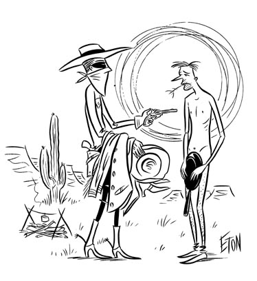"""NEKKID COWPOKE GAG CARTOON"" is copyright ©2008 by Jeremy Eaton.  All rights reserved.  Reproduction prohibited."