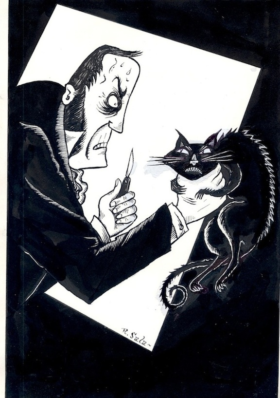 """The Black Cat - by Poe - Illustration"" is copyright ©2008 by Richard Sala.  All rights reserved.  Reproduction prohibited."