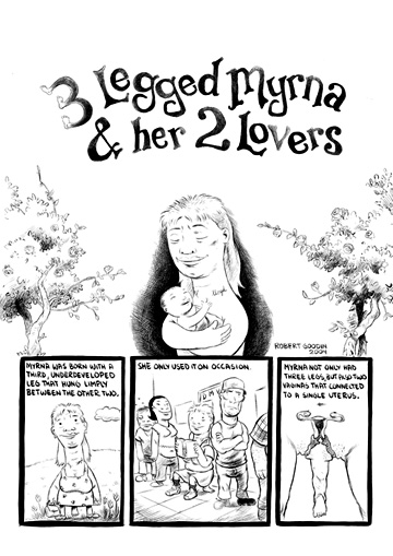 """MOME - 3 Legged Myrna and her Two Lovers, Page 1"" is copyright ©2008 by Robert Goodin.  All rights reserved.  Reproduction prohibited."
