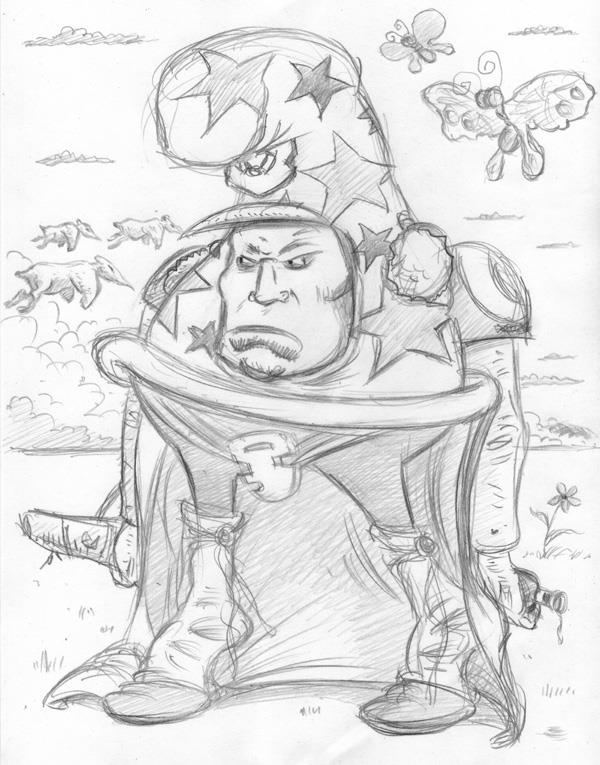 """CARTOON JUMBLE PENCIL - CHEECH WIZARD & AZRACH"" is copyright ©2008 by Jeremy Eaton.  All rights reserved.  Reproduction prohibited."