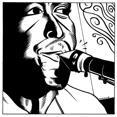 """Charlie Parker b&w illo"" is copyright ©2008 by Eric Reynolds.  All rights reserved.  Reproduction prohibited."