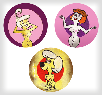 """Nudie 'Toons buttons"" is copyright ©2008 by J.R. Williams.  All rights reserved.  Reproduction prohibited."