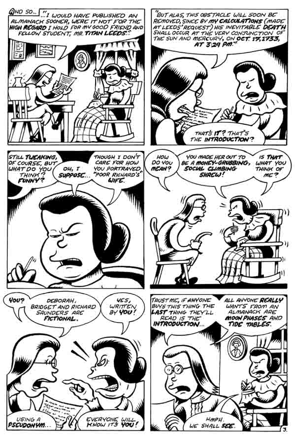 """Poor Rchard Predicts pg. 3"" is copyright ©2008 by Peter Bagge.  All rights reserved.  Reproduction prohibited."