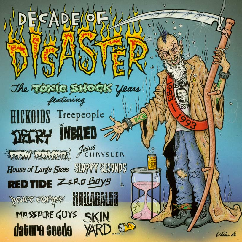 """DECADE OF DISASTER CD COVER ART"" is copyright ©2008 by Jim Blanchard.  All rights reserved.  Reproduction prohibited."