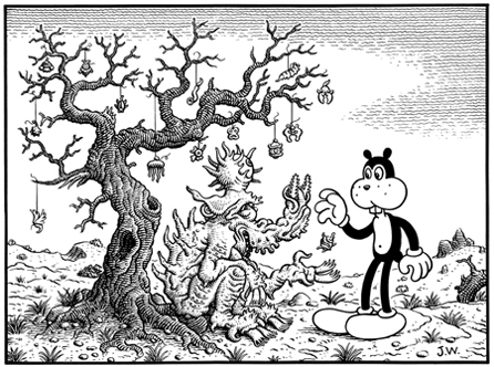 """CHARITY"" is copyright ©2008 by Jim Woodring.  All rights reserved.  Reproduction prohibited."