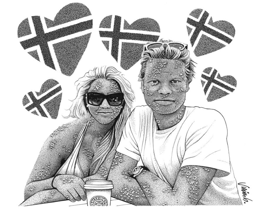 """DISEASED NORWEGIANS #1: HEIDI & LARS"" is copyright ©2008 by Jim Blanchard.  All rights reserved.  Reproduction prohibited."