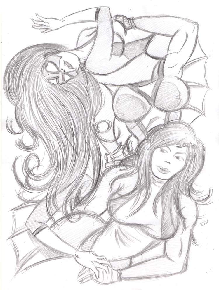 """CARTOON JUMBLE PENCIL - SHE-HULK & SPIDER-WOMA"" is copyright ©2008 by Jeremy Eaton.  All rights reserved.  Reproduction prohibited."