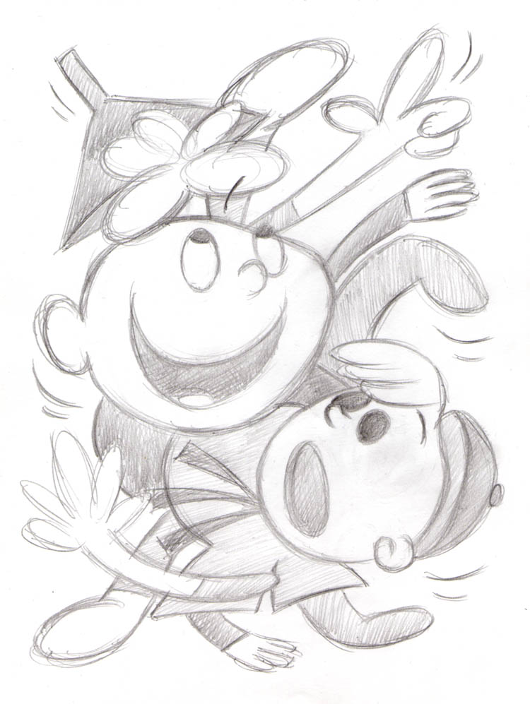 """CARTOON JUMBLE PENCIL - T. TERRIFIC & G.MCBOING..."" is copyright ©2008 by Jeremy Eaton.  All rights reserved.  Reproduction prohibited."