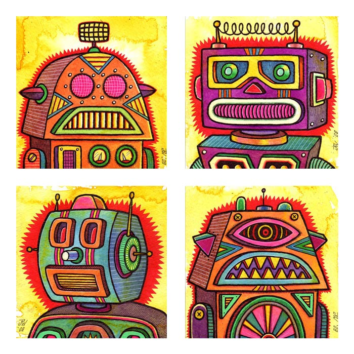 """Four Robots - prints"" is copyright ©2008 by J.R. Williams.  All rights reserved.  Reproduction prohibited."