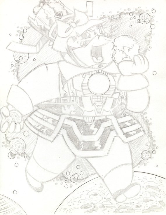 """CARTOON JUMBLE PENCIL -L. LOTTA & GALACTUS"" is copyright ©2008 by Jeremy Eaton.  All rights reserved.  Reproduction prohibited."