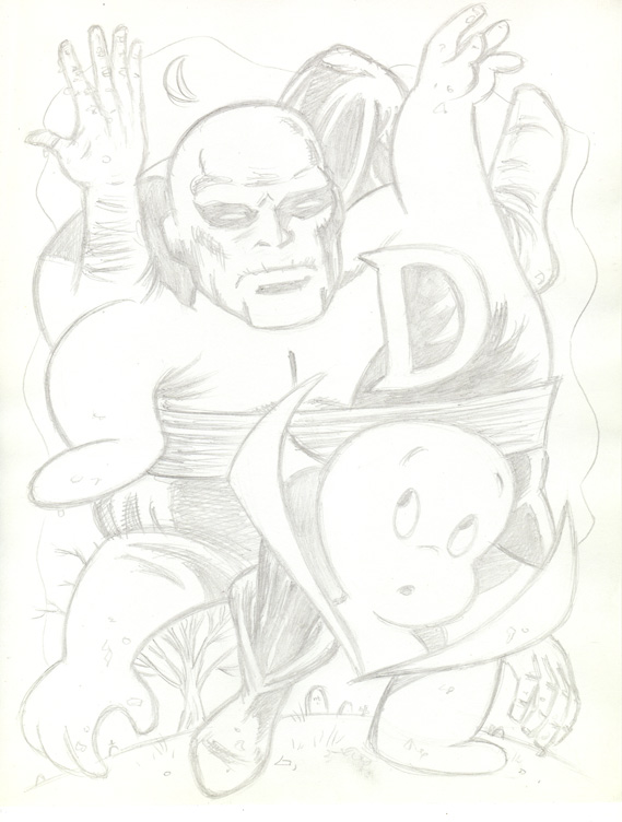 """CARTOON JUMBLE PENCIL -DEADMAN & CASPER"" is copyright ©2008 by Jeremy Eaton.  All rights reserved.  Reproduction prohibited."