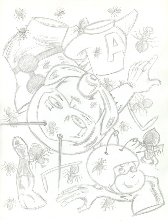 """CARTOON JUMBLE PENCIL-ANTMAN & ATOM ANT"" is copyright ©2008 by Jeremy Eaton.  All rights reserved.  Reproduction prohibited."
