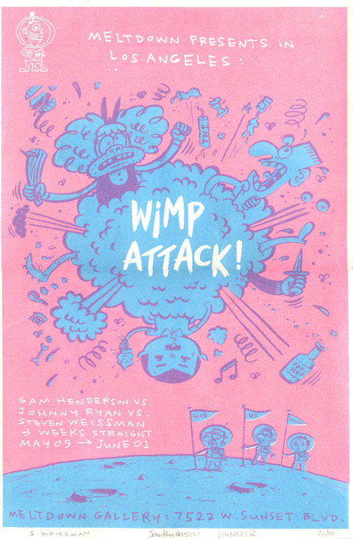 """WIMP ATTACK! poster"" is copyright ©2008 by Sam Henderson.  All rights reserved.  Reproduction prohibited."
