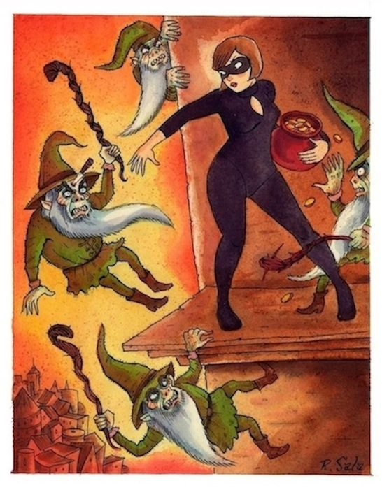 """CAT BURGLAR X - The Little People"" is copyright ©2008 by Richard Sala.  All rights reserved.  Reproduction prohibited."